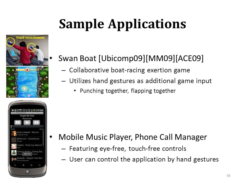 Sample Applications Swan Boat [Ubicomp09][MM09][ACE09]